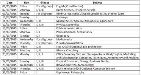 hbse 12th date sheet 2015 haryana board 12th date