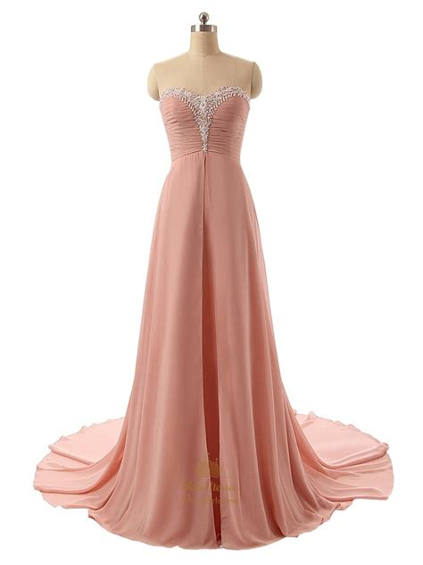pink beaded dress ruddy pink chiffon strapless sweetheart beaded neckline