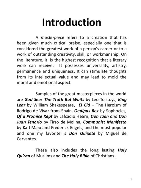 book report introduction exles world literature sle masterpieces summary