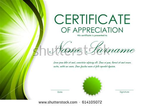 certificate achievement template green dynamic wavy stock