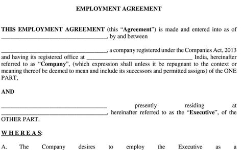 employment agreement agreement employment agreement