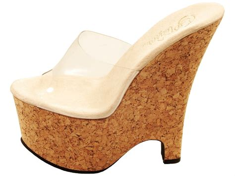 high heel cork wedge sandals pleaser shoes beau 601 high heel cork wedge platform clear