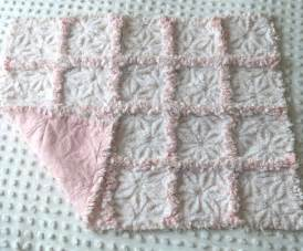 vintage pink white chenille patchwork rag quilt