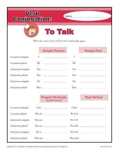 verb pattern talk to talk verb conjugation worksheets