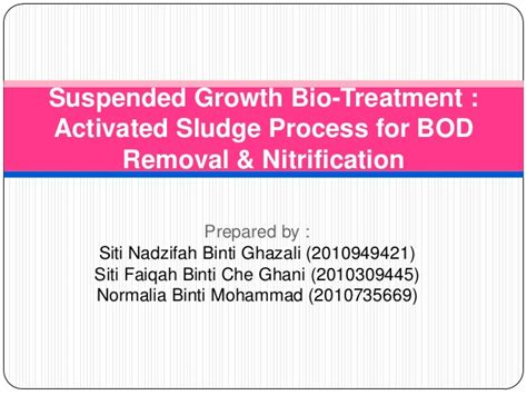 design criteria for activated sludge process suspended growth bio treatments bod and nitrification