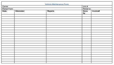 vehicle maintenance record form car care tips car vehicles