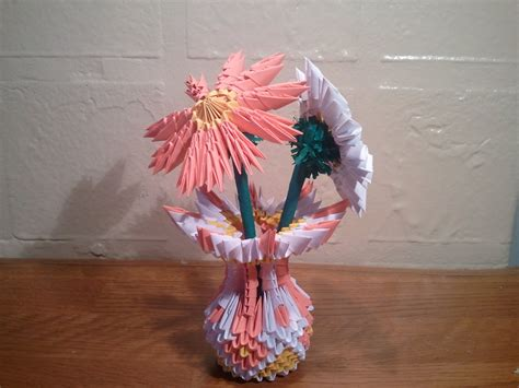 How To Make A 3d Origami Flower Vase - 3d origami small vase with flowers