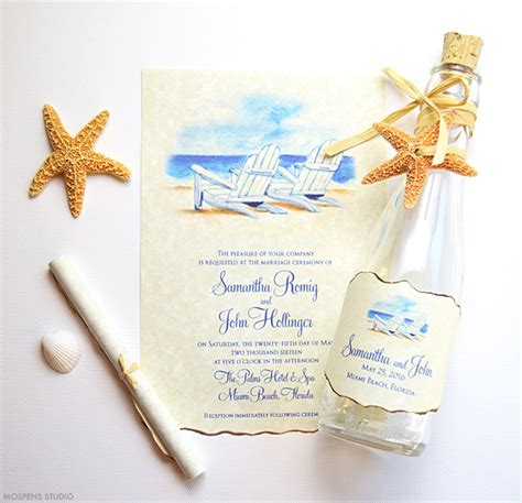 Beach Chair Wedding Invitations   Mospens Studio
