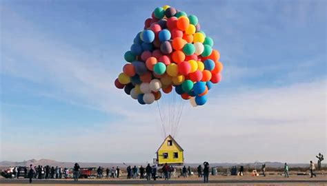 real life  house lifted  balloons  diy