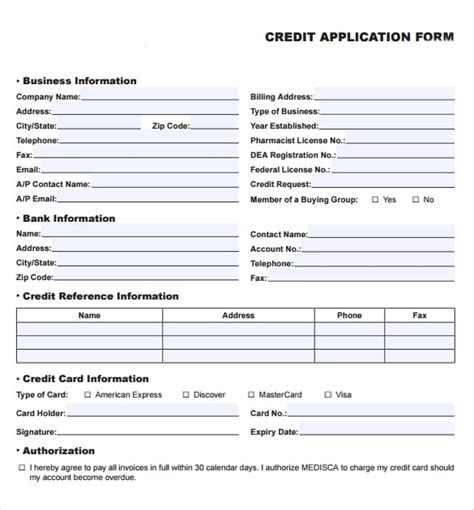 Credit Card Application Template Forms 8 credit application templates excel excel templates