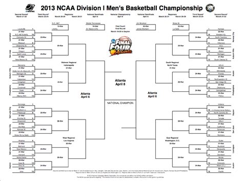 president obamas bracket for the 2013 ncaa mens 2013 ncaa tournament printable bracket collegebasketballtalk