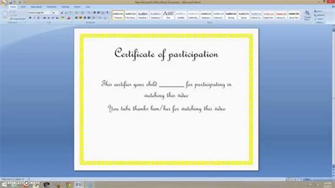 How To Create A Certificate On Ms Word 2007 Youtube How To Create Certificate Template