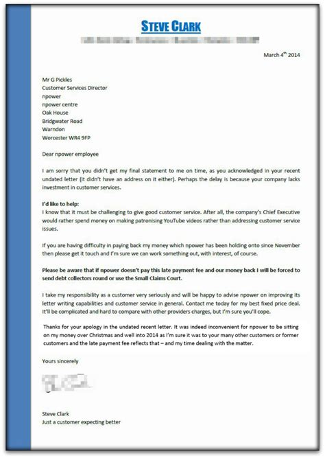 Letter Of Credit Charges Uk Npower To The Electricity Companies At Their Own And Winning Steve Clark