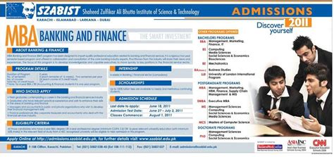 Mba Banking by Szabist Karachi Mba Banking And Finance Admission 2011