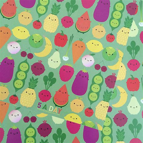 7 fruit and veg a day five sheets of five a day fruit and veg wrapping paper by