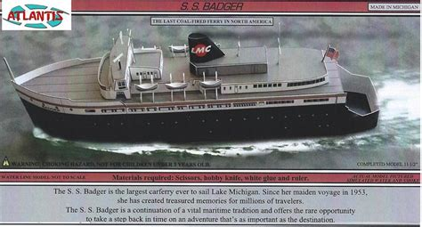 ferry boat from wisconsin to michigan s s badger great lakes coal fired ferry boat paper model