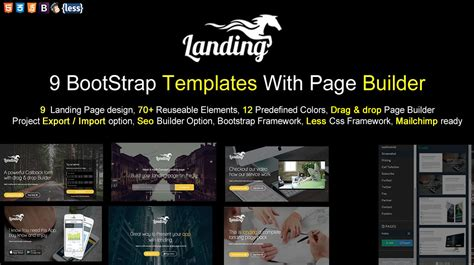 bootstrap themes builder landing bootstrap template with page builder themes