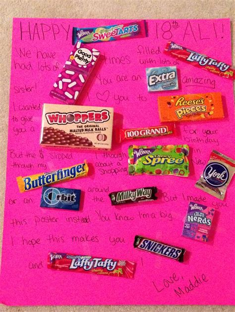 happy birthday candy poster diy crafts pinterest