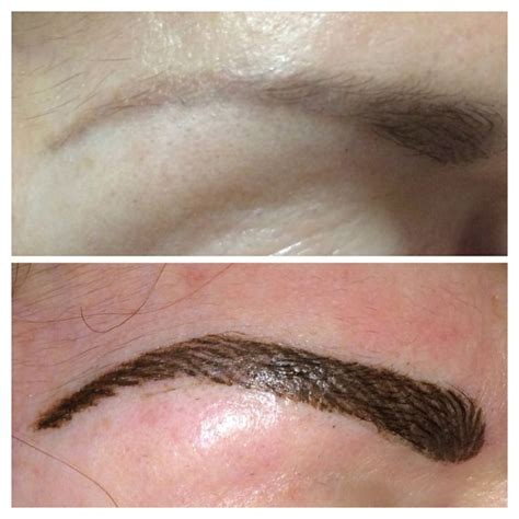 hair stroke eyebrows to cover and reshape old faded solid