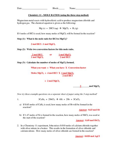 mole calculations worksheet answers 18 best images of mole conversion problems worksheet
