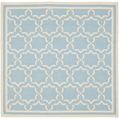 Blue Square Rug by Safavieh Moroccan Light Blue Ivory Reversible Dhurrie Wool Area Rug 8 Square 13792191