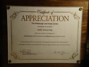 Plaque Of Appreciation Template by Certificate Of Appreciation Care Ownership