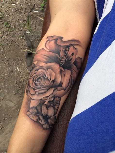 violet and rose tattoo my a realistic beautiful shading shadow black