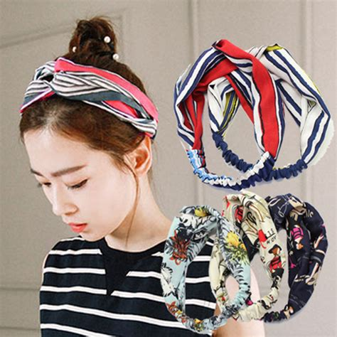 1050 Korean Set Cloth With Stripped And Ribbon retail korean hair accessories fabric floral retro striped ribbon cross small fresh