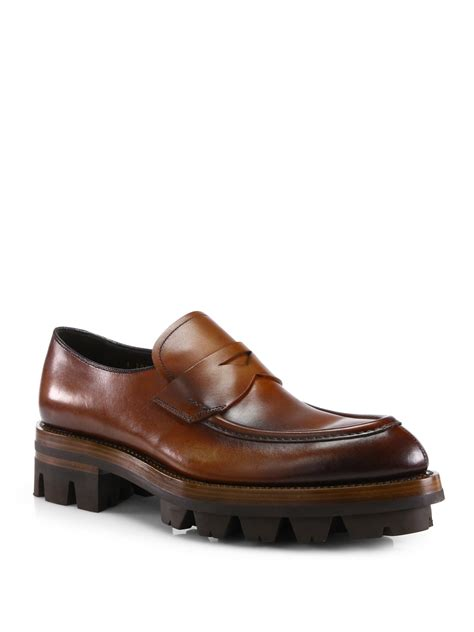 prada mens loafer prada runway loafers in brown for lyst