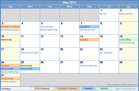 Calendar With Holidays 2015 May 2015 Calendar With Holidays For Printing Picture Format