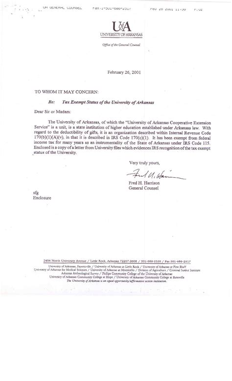 Request Letter Exemption Cooperative Extension Service Financial Department Resources