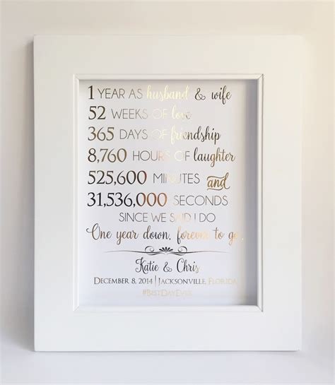 Wedding Anniversary Year 1 by 1st Anniversary Gift Anniversary Gift For Husband Or