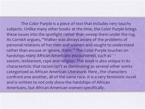 the color purple book point of view the color purple