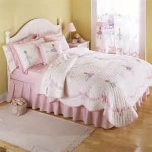 White ribbon ballerina ballet dancer full queen size girls bedding set