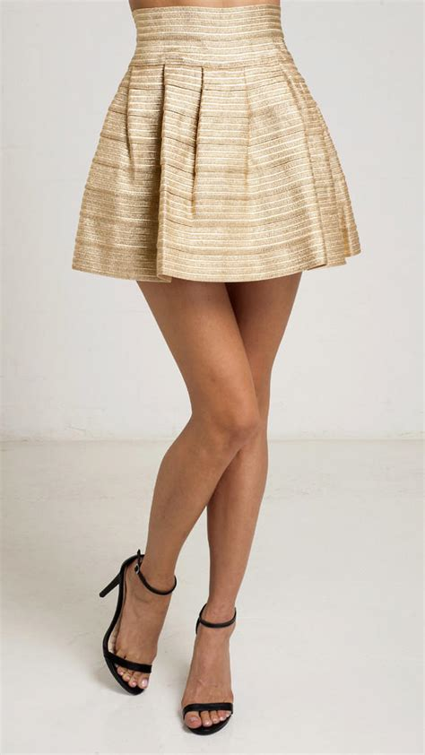 Denydesigns ornament gold pleated mini skirt from angl bottoms