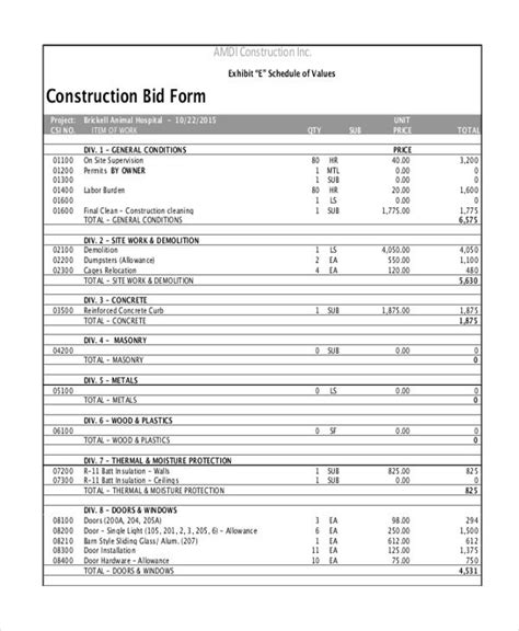 c1001 construction proposal template print result best