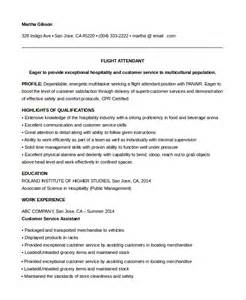 Nursery Attendant Sle Resume by Entry Level Flight Attendant Resume Resume Exles For Flight Attendant Attendant Sle Resume