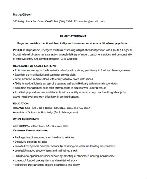 sle flight attendant resume 6 exles in pdf word