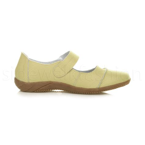 mary jane comfort shoes womens ladies low flat comfort leather hook loop strap
