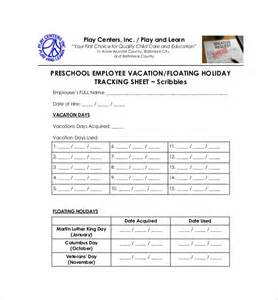 Employee Performance Tracking Template by 11 Vacation Tracking Templates Free Sle Exle
