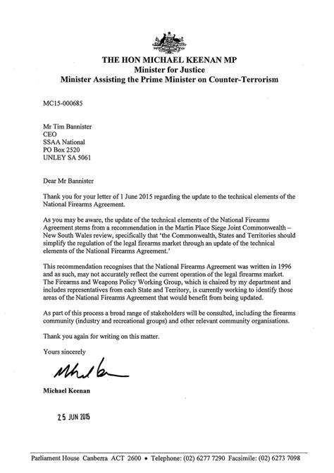 Letter Of Agreement Australia Minister Keenan Confirms National Firearms Agreement Review Underway Sporting Shooters