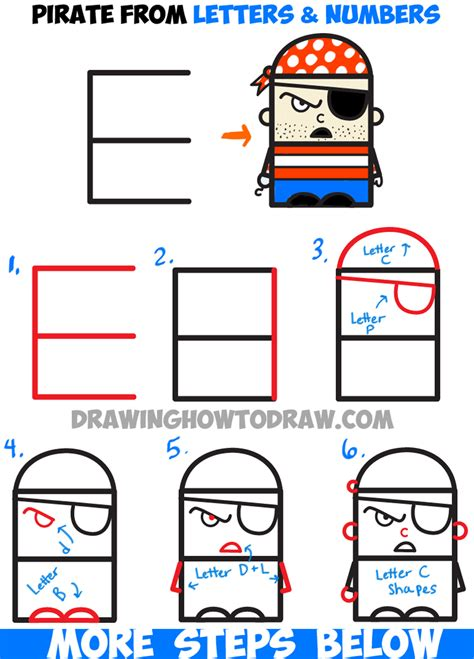 Letter Drawing how to draw pirate from letters and numbers easy