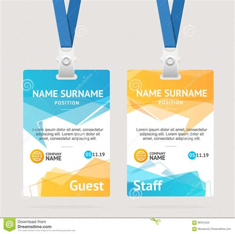 free id card template vector id card template plastic badge vector stock vector