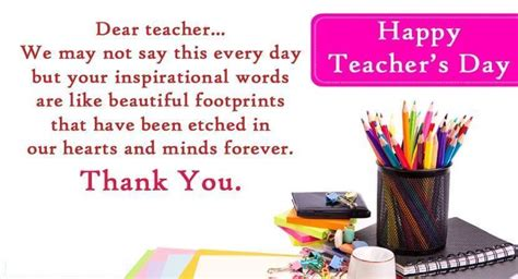 Thank You Letter For Teachers Day World S Day October 5 2017 Happy Days 365