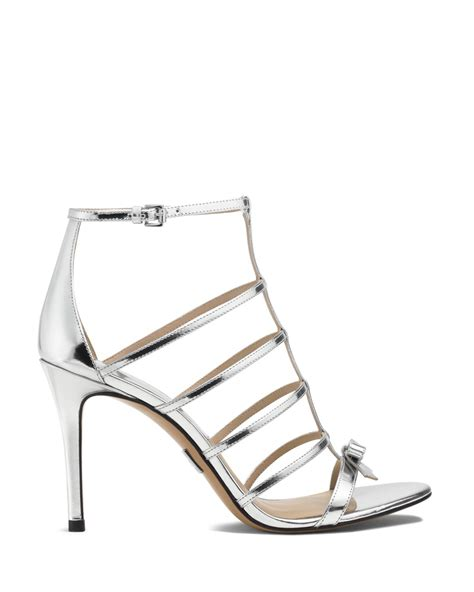 michael kors high heel sandals lyst michael kors ankle sandals blythe caged