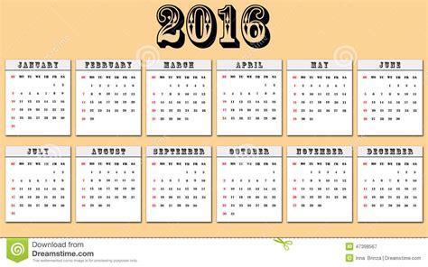 Calendario Z American Calendar 2016 Week Starts On Sunday Stock