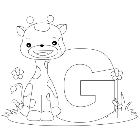 animal alphabet letter g coloring child coloring