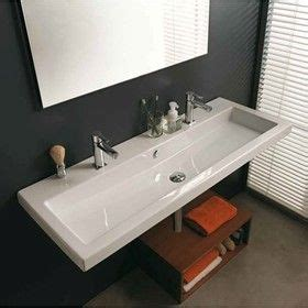 Single Sink With Two Faucets by Faucet Trough Style Sink Cangas Wall Hung