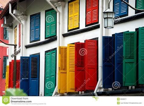 Multi Sg singapore multi coloured shutters in chinatown stock