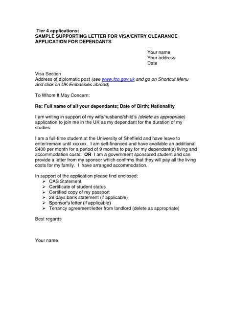 Support Letter From Employer For Visa Cover Letter Sle For Uk Visa Application Free